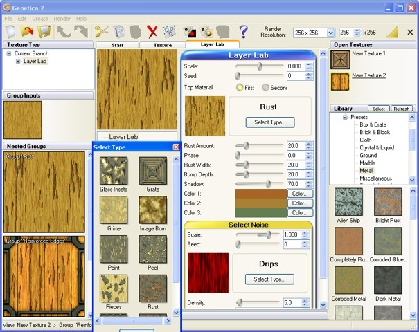 Node-based seamless texture editor with over 500 realistic texture presets.